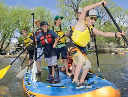 Image of kids having a GREAT time at Salida Colorado PaddleFest